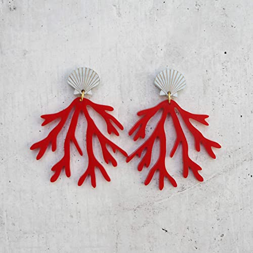 Coral Acrylic Pearl Earrings