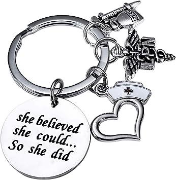 BESPMOSP Collection Nurse Keychain Keyring Nursing Graduation Valentines Birthday Gift LPN