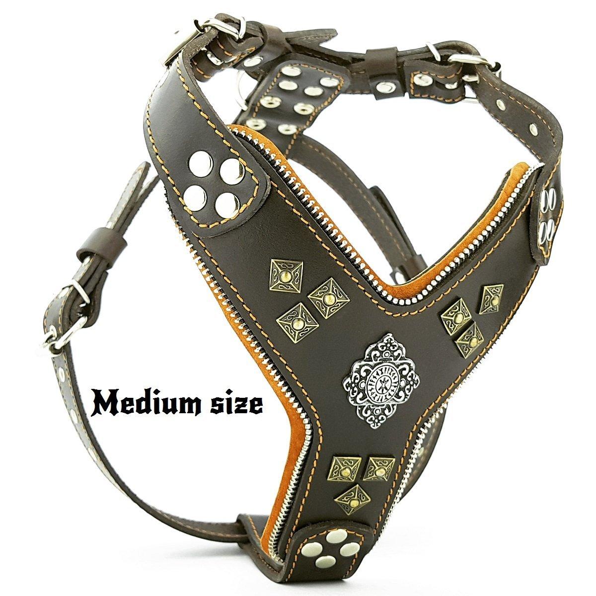 Bestia ''Aztec Big Dog Leather Harness. 2 Tone Rivet Decorations. Zipper Decoration. Foam and Leather Padding Handmade in Europe.