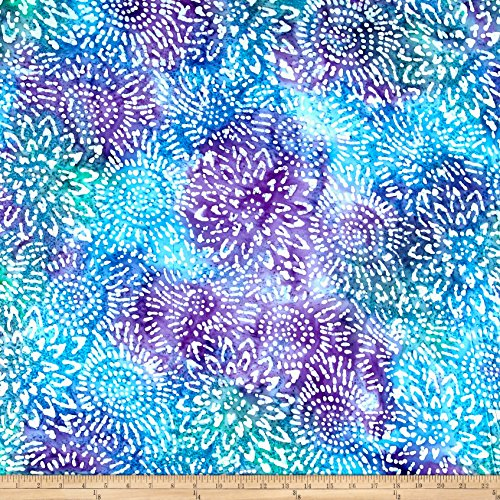 Textile Creations Cotton Jersey Knit Abstract Sunflower Purple/Blue/Teal Fabric by The Yard, ()