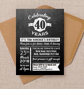 Personalizable pizarra fondo cumpleaños invitaciones con ...