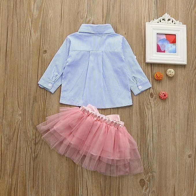 XEDUO 2Pcs Toddler Baby Girls Denim Tops Shirt+Tutu Skirt Outfits Clothes Set