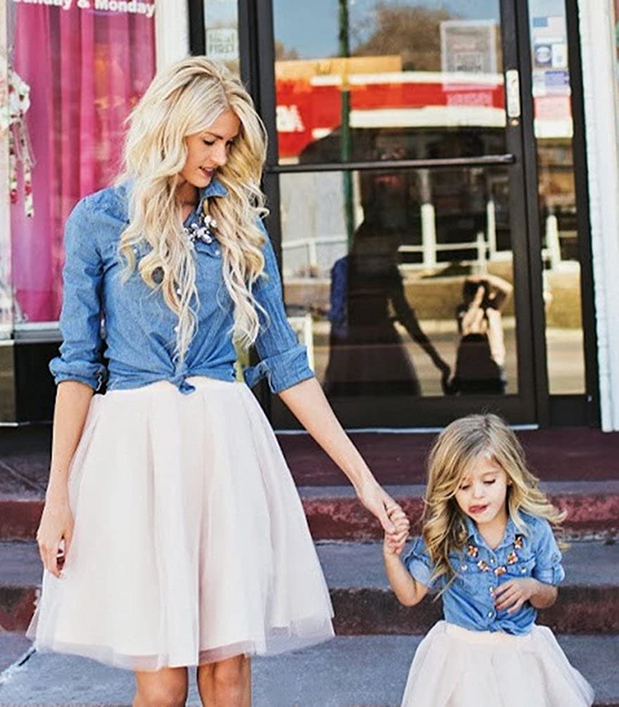 Layered Skirt Family Look Matching 2PCS Set Clothing LINNUO Mother and Daughter Denim Top T-Shirt Blouse