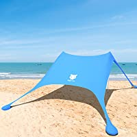 Night Cat Beach Tent Beach Shade UPF50+ for 4 to 6 Persons Sun Shelter Sun Shade Lycra with UV Protection Portable…
