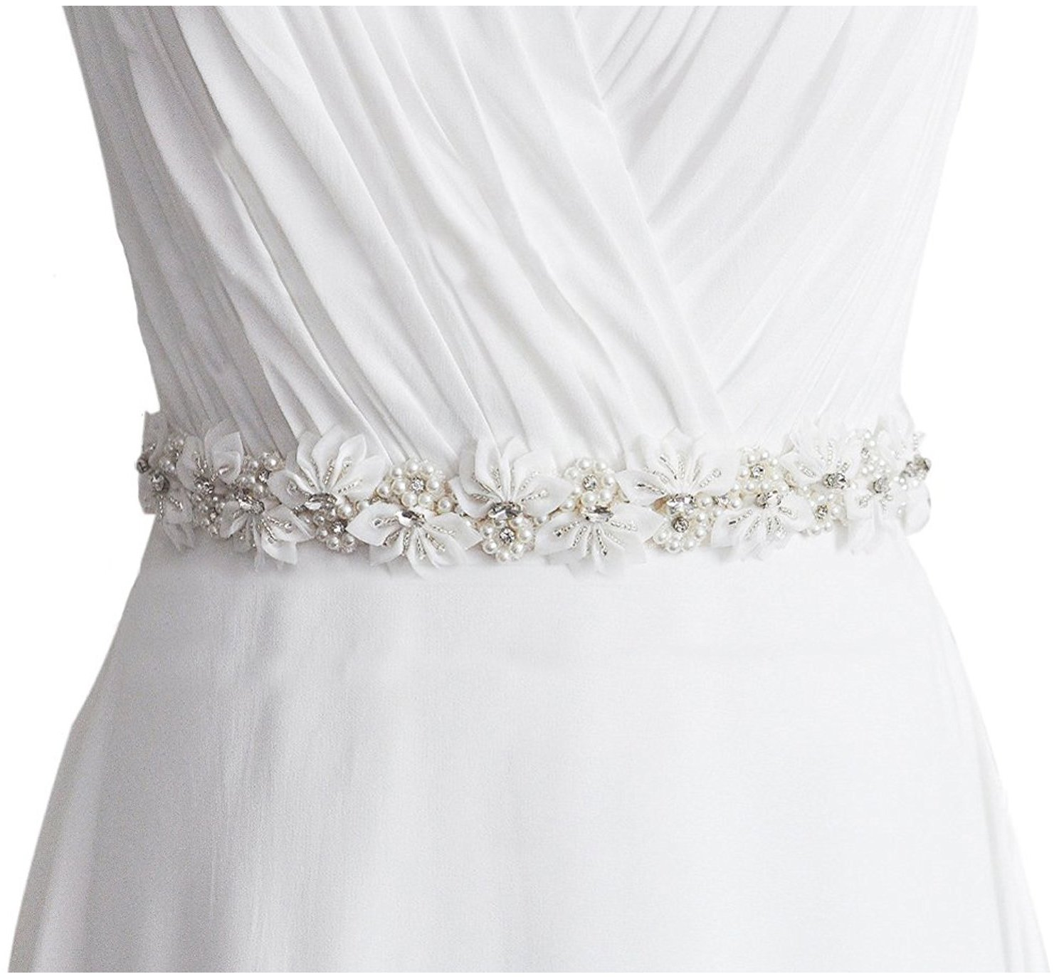 Lovful Womens Floral Beads & Rhinestone Flower Bridal Wedding Party Dress Belts,Ivory,One Size