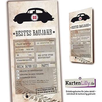 Kfz Brief Einladung 25 Geburtstag Individuell Oldtimer Auto