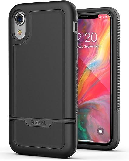Military Grade Full Body Cover Encased Heavy Duty iPhone XR Protective Case - Black 2018 Rebel Armor