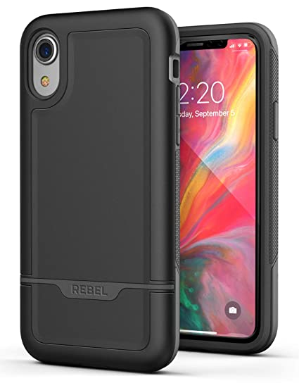 reputable site f5a03 5a0a0 Encased Heavy Duty iPhone XR Protective Case (2018) Military Grade Full  Body Cover (Rebel Armor) - Black