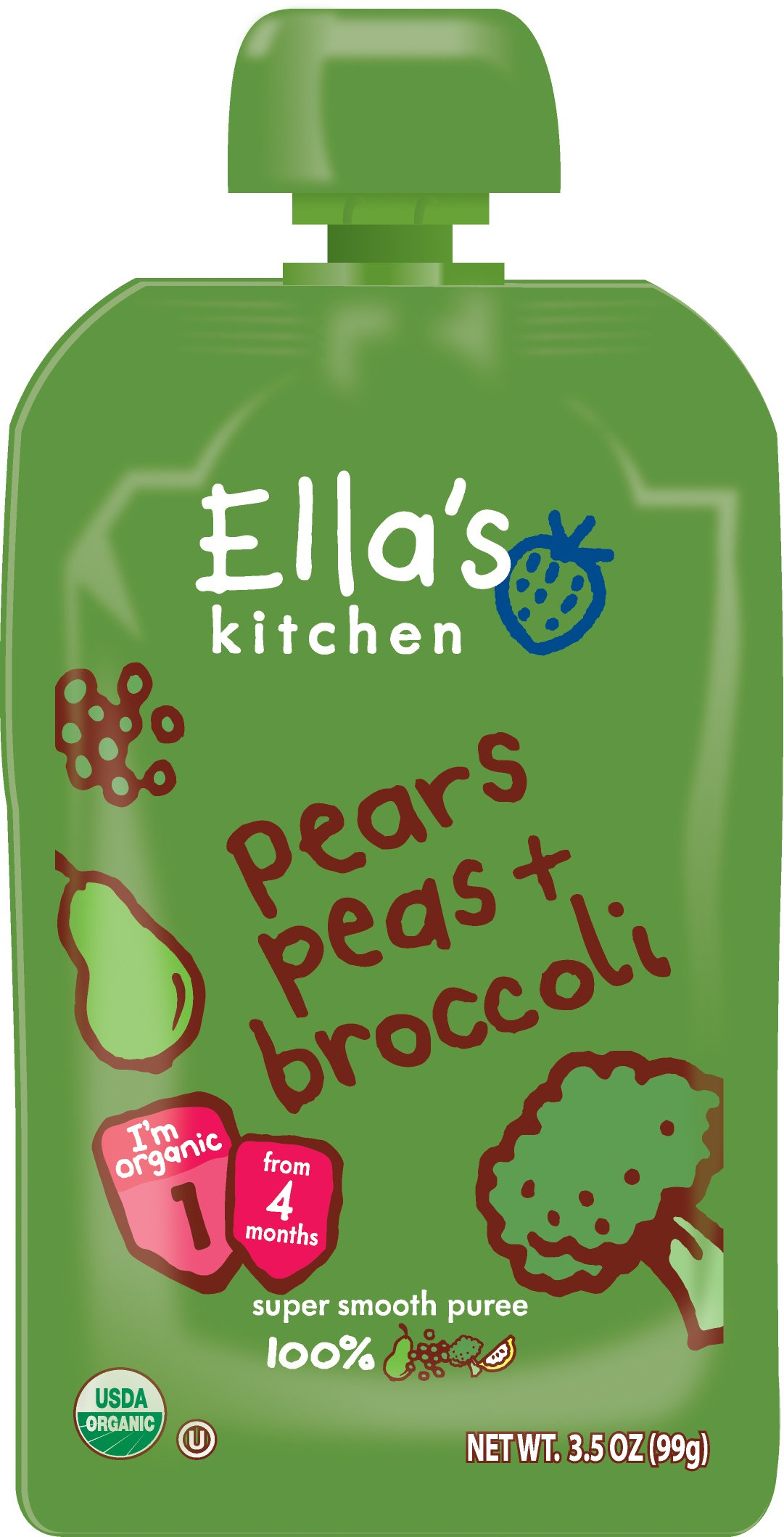 Ella's Kitchen Organic Stage 1, Pears Peas + Broccoli, 3.5 Ounce (Pack of 12)
