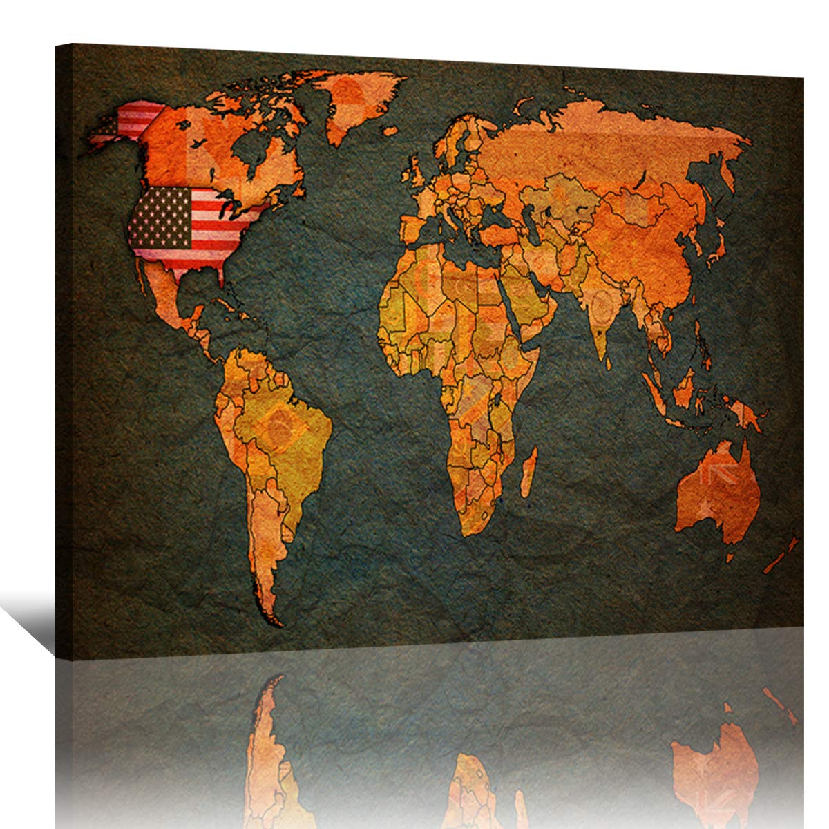 Amazon.com: DAXIPRI 1 Pieces World Map Canvas Print Wall Art ... on bhutan world map, qatar on world map, jordan world map, pakistan world map, israel world map, bahamas world map, sudan world map, palestine world map, oman world map, belarus world map, tonga world map, egypt world map, kuwait world map, netherlands world map, united arab emirates world map, tanzania world map, ukraine world map, burma world map, benin on world map, bahrain world map,