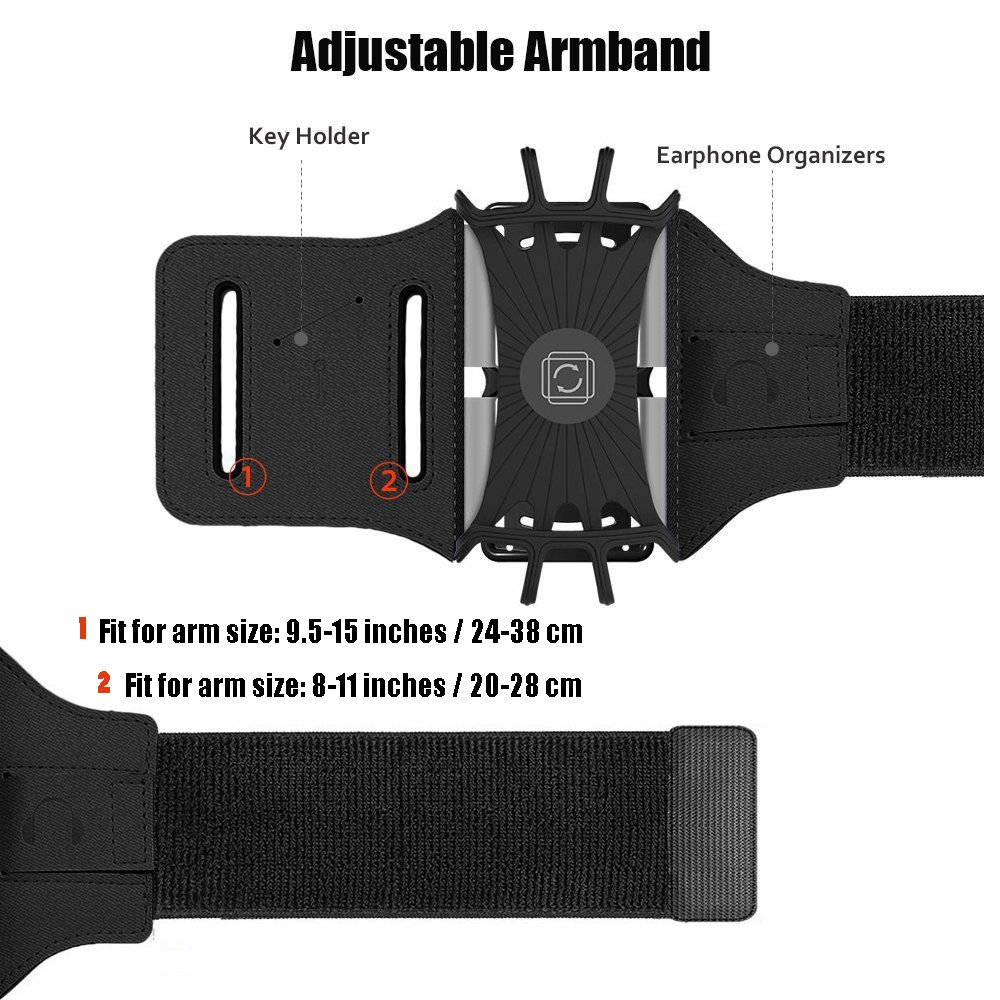 Sports Armband, 180° Rotatable Workout Cellphone Armband Phone Holder for Running Jogging, Cell Phone Running Armband for 4-6'' Phone, iPhone 8 7 6s Plus, Samsung Galaxy S8 S7 S6 (Black) by APzek (Image #6)