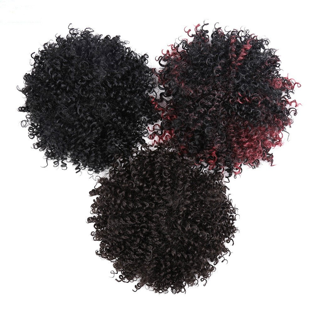 Afro Fluffy Synthetic Kinky Curly Hair Bun Extension Donut Chignon Puff Hair Drawstring Short Ponytail Hairpieces Scrunchie Wig Updo with Two Clips for African American Black Women (8INCH, 1B/burg)