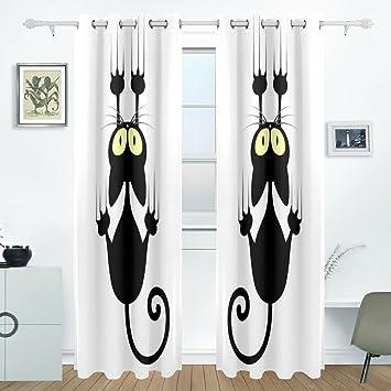 BENNIGIRY Negro diseño de Gatos Cortinas de Cortinas de oscurecimiento habitación Pantalla de Aislamiento térmico Ventana