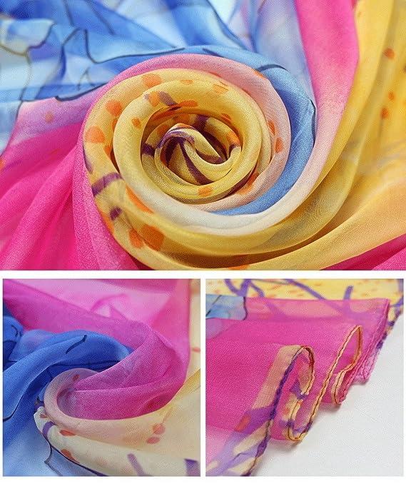 YiyiLai Echarpe Cover Up Bikini Imitation Soie Foulard Plage Protection de Soleil  Fleurs Imprimée Style  A  Amazon.fr  Vêtements et accessoires a0626dae645