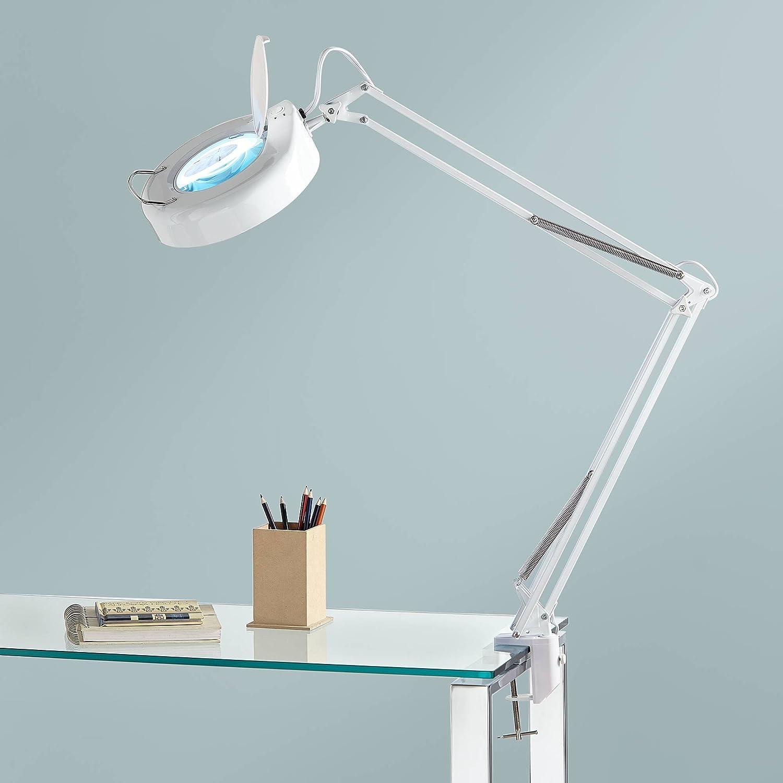Modern Desk Table Lamp White Clamp On Adjustable Magnifying for Bedroom Bedside Office Craft Sewing – 360 Lighting