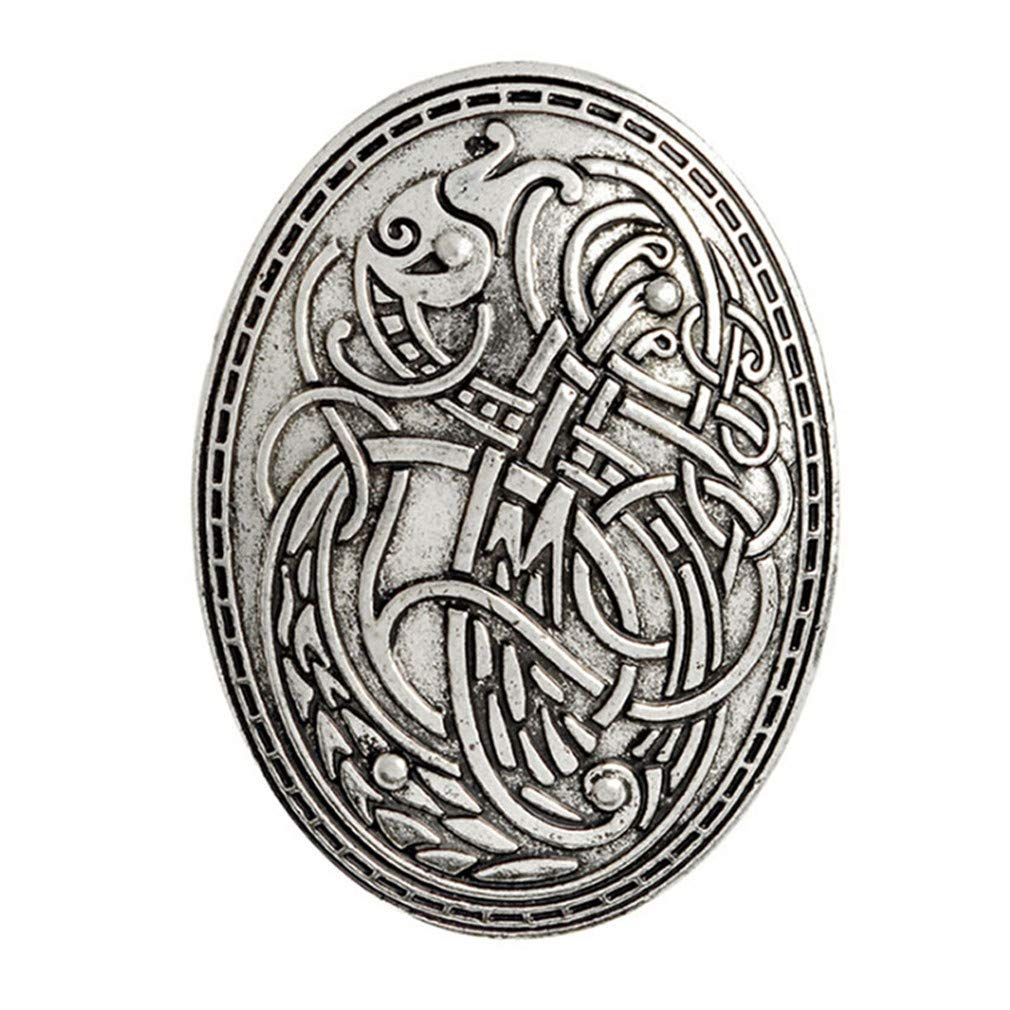 GloryMM Creative Brooch Fashion Jewelry Shirt Lapel Badge Wolf Graphic Pattern Amulet Dragon Viking Shield Symbol Brooch Clothes Accessories,Silver
