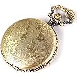 Yesurprise Montre de poche Rayures Montre porte-clés avec chaîne Quartz Bronze B007