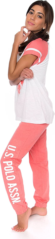U.S Womens Short Sleeve Shirt and Long Pajama Pants Sleepwear Set Polo Assn