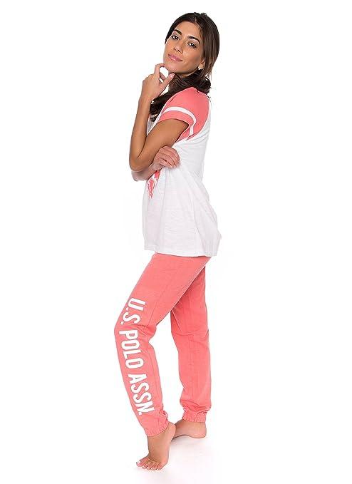 U.S. Polo Assn. Womens 2 Piece Short Sleeve Shirt and Long Pajama ...