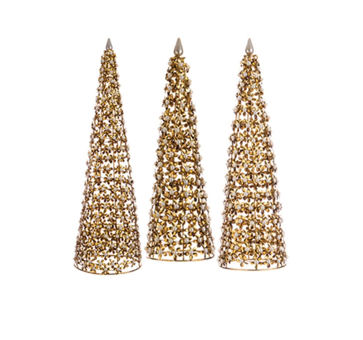Set of 3 Glamour Time Antique-Style Gold Flower and Pearl Cone Tree Table Top Decorations 20'' by Allstate