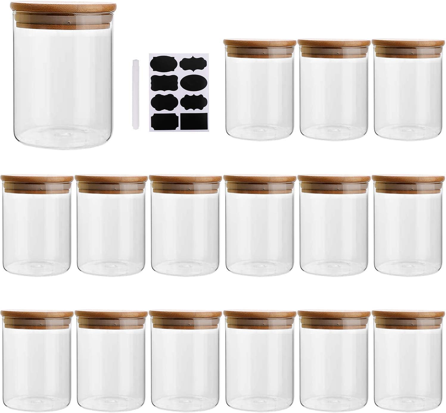 6oz/200ml Clear Glass Food Storage Containers Set Airtight Food Jars with Bamboo Wooden Lids Kitchen Canisters For Sugar, Candy, Cookie, Rice and Spice Jars - Set of 16