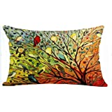 Oil Painting Hundreds of Birds Cotton Linen Throw Pillow Case Cushion Cover Home Sofa Decorative 19 X 12 Inch (Waist pillow cover)