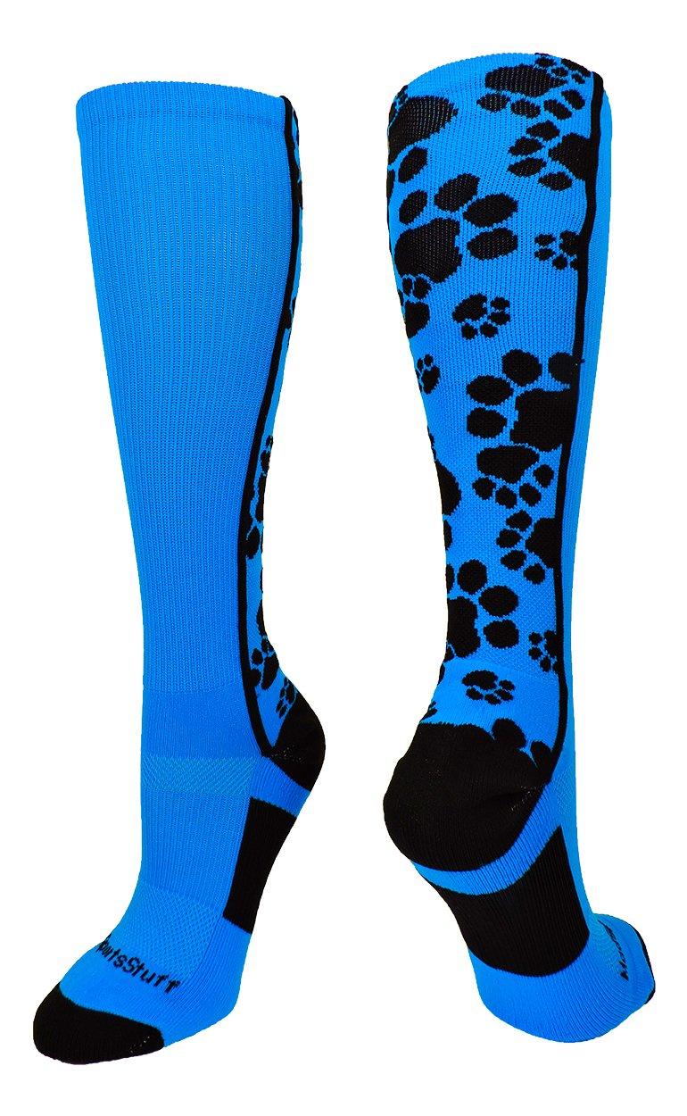 MadSportsStuff 靴下 クレイジー 動物の足跡の柄 ふくらはぎ丈 複数の色 B0747BC7TP Medium|エレクトリック ブルー/ブラック(Electric Blue/Black) エレクトリック ブルー/ブラック(Electric Blue/Black) Medium