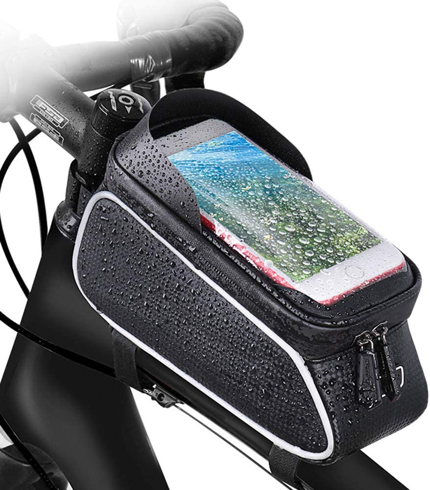 Lianxing Bike Handlebar Bag Bicycle Phone Mount Waterproof Cycling Frame Top Tube Pouch Pannier Bike Phone Holder Stand for All Smartphone up to 6