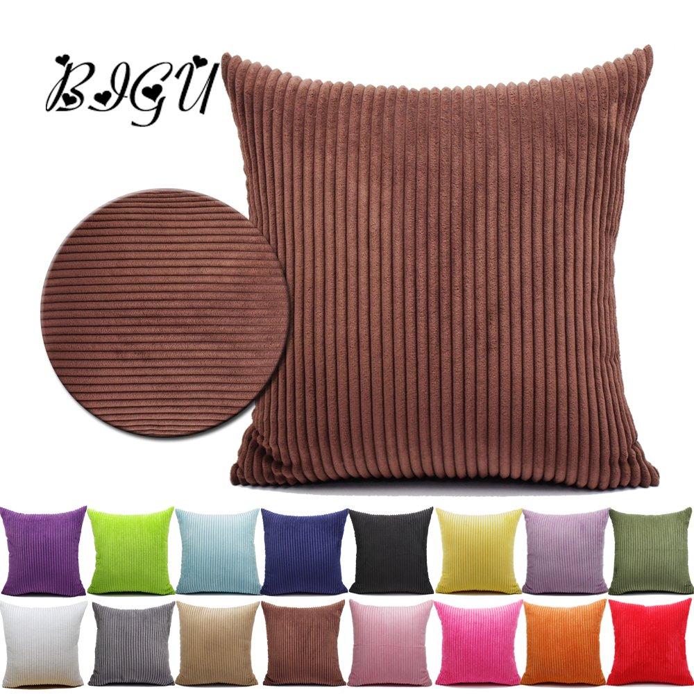 BIGU Cushion Covers Elegant Soft Striped Corduroy Square Solid Pillow Covers Home Decoration Sofa Car Waist Plain Throw Pillow Case 12x18 30X45CM Brown