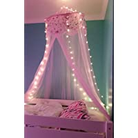 Pericross Princess Lace and Net Round Bed Canopy 23.62 by 120-Inch (Pink) (pink with light)