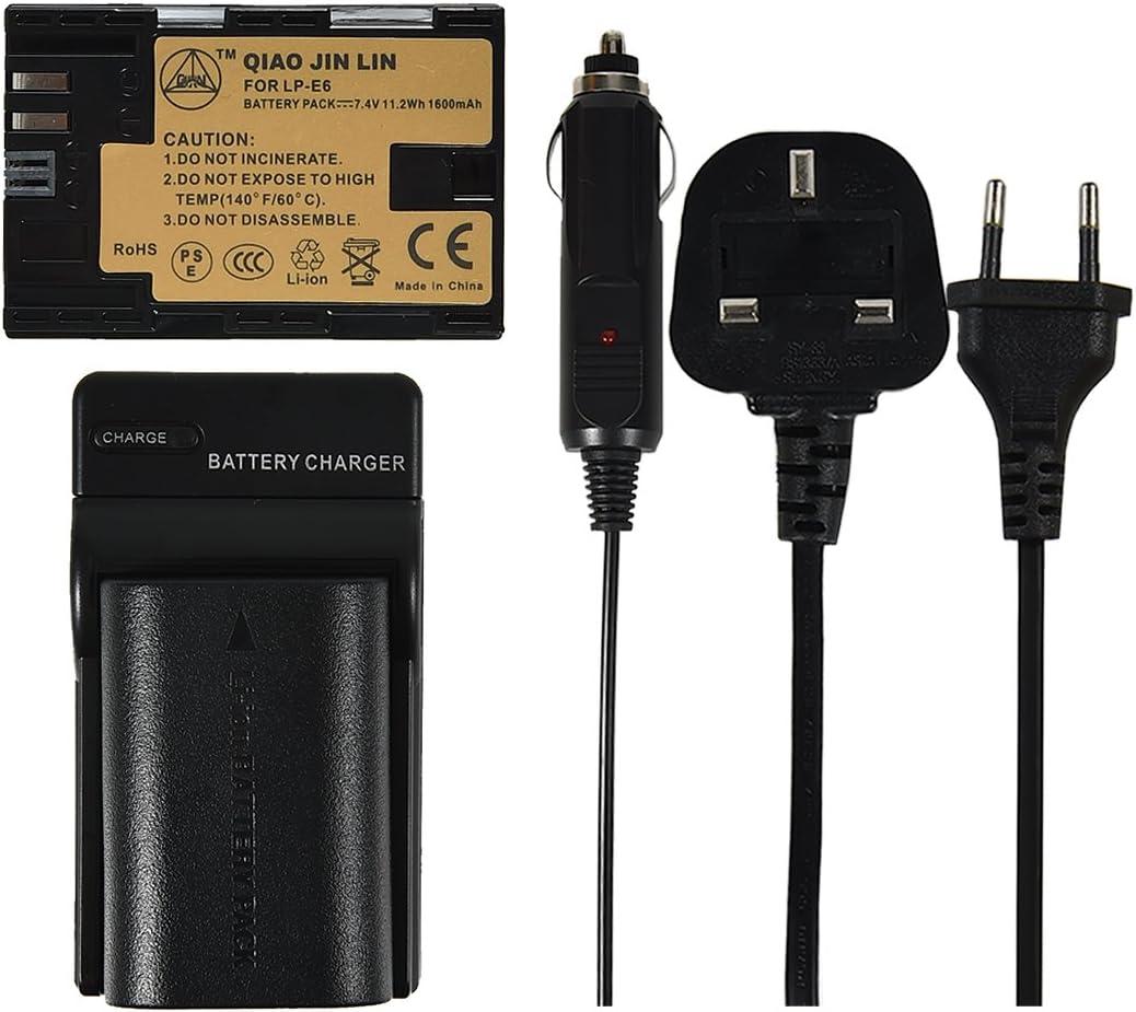 QIAOJINLIN 2 Pack batería y AC Adaptor Cargador Compatible para Canon LP-E6 LP-E6N LC-E6 LC-E6E: Amazon.es: Electrónica