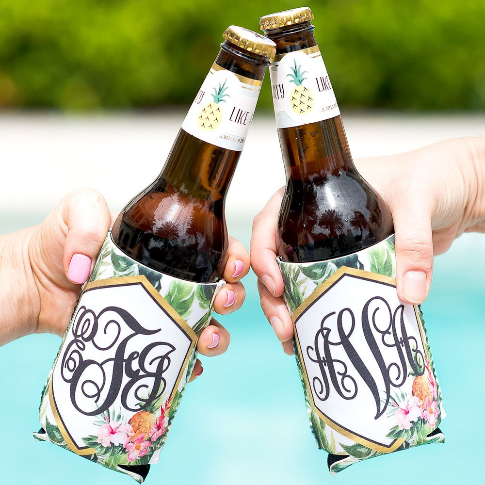 Bridal Party Gifts Party Favors Tropical Drink Insulator Coolers Monogram Birthday Bachelorette Banana Leaf Beach Pool Party