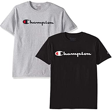 5aa9a2c5 Champion Men's Classic Jersey Script T Shirt -3 Piece Bundle Includes 2  Shirts Free BE Bold Gym Tote Bag Genie Outlet | Amazon.com