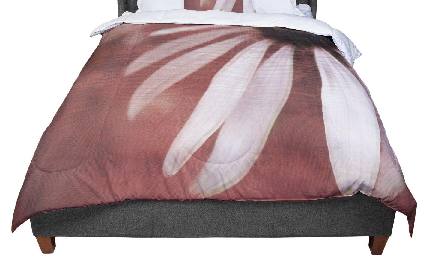 KESS InHouse Iris Lehnhardt 'Copper & Pale Pink' Brown Flower King / Cal King Comforter, 104' X 88'