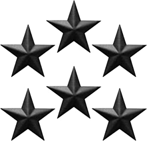 "EcoRise Black Barn Star – Star Wall Décor, Metal Stars for Outside or Inside of House, Iron Texas Metal Star Rustic Vintage Western Country Home Farmhouse Wall Art Decorations (5"" (Pack of 6))"