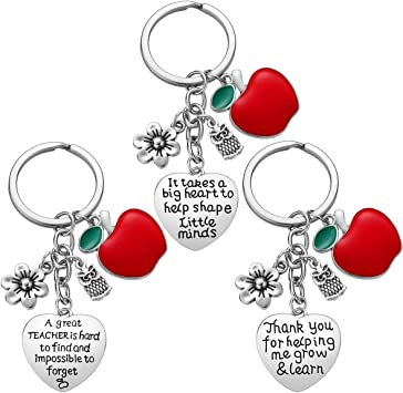 Thank You Gifts for Teacher Teacher Appreciation Gift for Women Christmas Gifts for Teacher Valentine/'s Day Gift 3pcs Teacher Keychain Teacher Gifts
