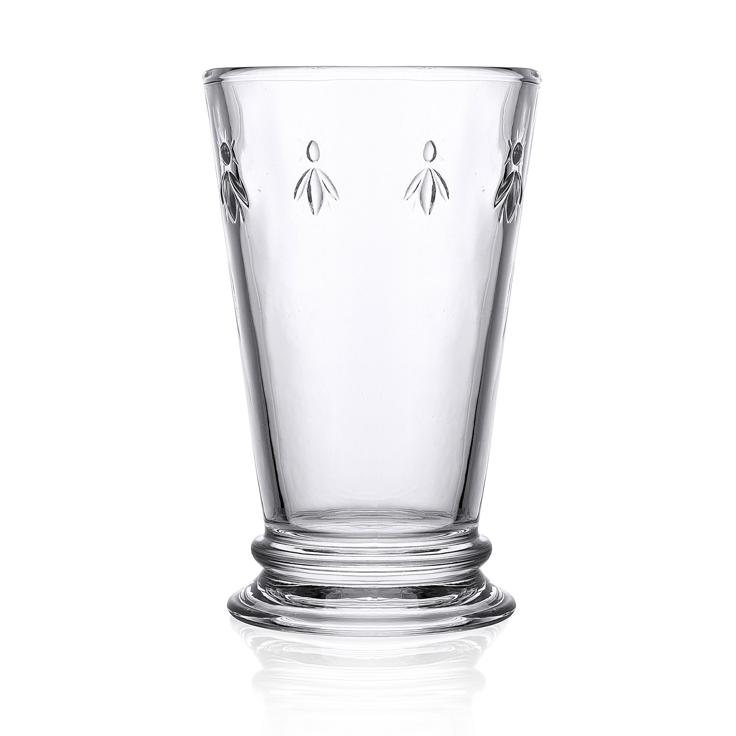 Melleo Highball Glasses Set of 6 Clear 10.5-ounce Bee Glasses Juice Water Drinking Double Old Fashioned