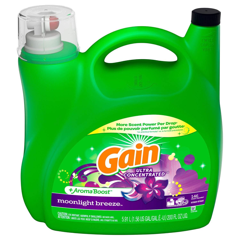 Gain Liquid Detergent Ultra Concentrated Aroma Boost moonlight breeze 146 loads 200 fl oz