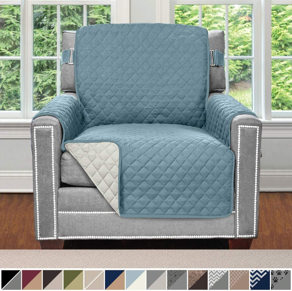 Sofa Shield Original Patent Pending Reversible Chair Slipcover, 2 Inch Strap Hook, Seat Width Up to 23 Inch Machine Washable Furniture Protector, Slip Cover Throw for Pets, Kids, Chair, Seafoam Cream