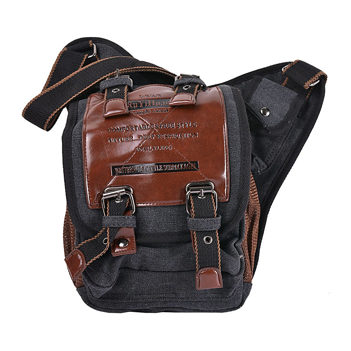 fd9ada1f6d41 Mens Boys Vintage Canvas Shoulder Military Messenger Bag Sling School Bags  - Unisex Sports Shoulder Bag Fishing Tackle Bag Crossbody Messenger Sling  Bags