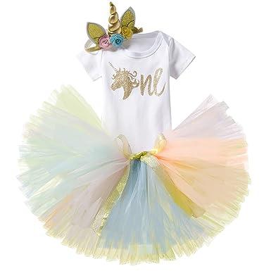 8a756d36a0b3a NNJXD Fille Licorne Fleurs Arc-en-Tutu 1er Un Anniversaire 3Pcs Ensembles  Barboteuse +