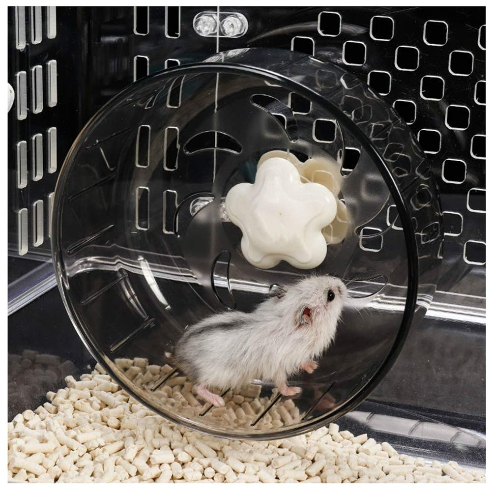 Ice con Hamster Toys, Acrylic Washable Silent Easy Attach Spinner Running Wheel for Syrian Hamster, Dwarf Hamster, Chinchilla, Mouse, Gerbil and Small Animals by Ice con