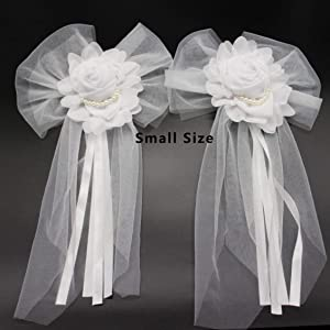 Junxia Pearl Bud Silk Ribbon Flower for Wedding Party Decoration,Bridal Car,Wedding Car Decoration 2 pcs /Set