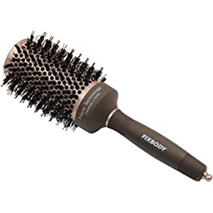 FIXBODY Round Barrel Anti-Static Hair Brush with Boar Bristles, Nano Thermal Ceramic Coating
