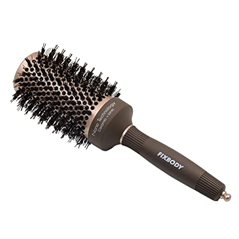 FIXBODY Round Barrel Anti-Static Hair Brush with Boar Bristles, Nano Thermal Ceramic Coating & Ionic Tech for Hair Drying, Styling, Curling, Straightening, Hair Volume and Shine (2 inch)