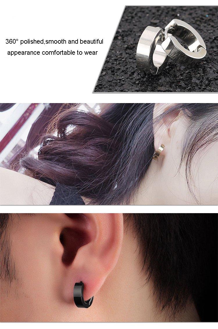 5 Paires 316 Acier Inoxydable Boucle d/'Oreille Pendantes Anneau Homme Femme Unisexe Boucles d oreilles Cr/éole Piercings Argent Noir Or 14mm