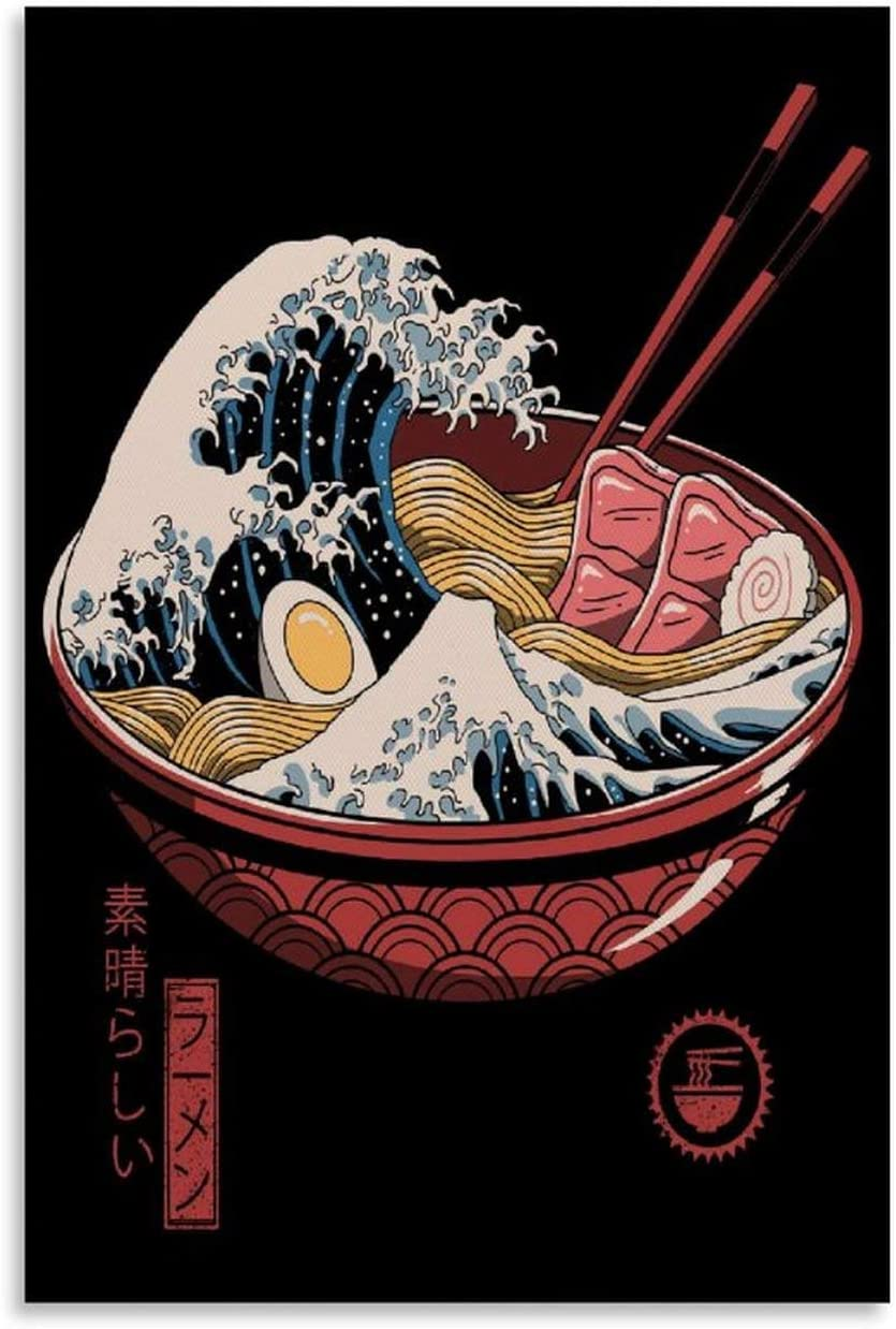 Japanese Retro Great Ramen Wave Art Silk Japan Style Painting Poster Prints Canvas Wall Picture for Home Room Decor Canvas Art Poster and Wall Art Picture Print Modern Family bedroom Decor Posters 20x