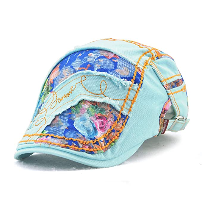Summer Women Hat Lace Beret Caps Cotton Peaked Hat Visors Sun Flat Cap Newsboy Boina Gorras Planas, Lake Blue at Amazon Womens Clothing store: