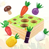 Montessori Wooden Toys for 1-2 Year Old Boys and Girls,Vegetables and Fruits Harvest Shape Size Sorting Puzzle STEM…