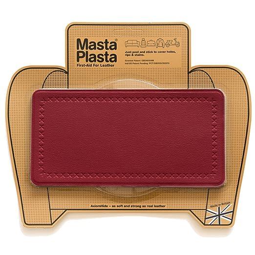 MastaPlasta Reparador Cuero, Polipiel y Skai - Parches en Varios Colores Rectangulo Grande Puntada (200x100mm) (Rojo)